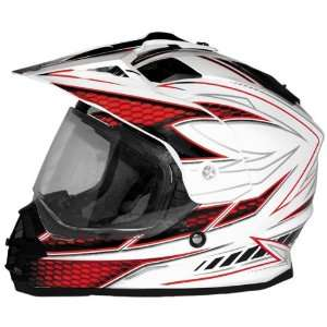 Cyber Graphic UX 32 Off Road Motorcycle Helmet   White/Red