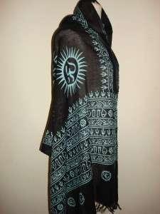 SIR ALISTAIR RAI Black Blue Prayer Scarf Wrap New