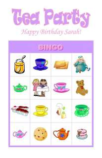 Tea Party Birthday Party Game Bingo Cards