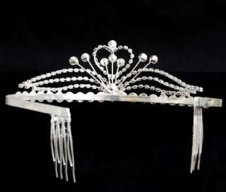 1P Shining Rhinestone Crown Comb Wedding Bridal Tiara Headband Silver