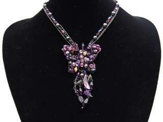 Purple Glass Stone Beaded Crystal Rhinestone Butterfly Dangle Pendant