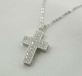 Beautiful 9ct White Gold Diamond Set Cross Pendant
