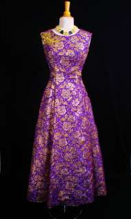 VTG 50s 60s BEADED Gold Floral METALLIC Gown Princess PROM Wedding