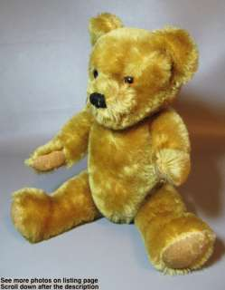VINTAGE GOLD MOHAIR JOINTED TEDDY BEAR ENGLISH