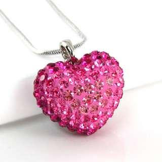 18K WGP Pink Love Heart Necklace Use Swarovski Crystal NA1686 Free