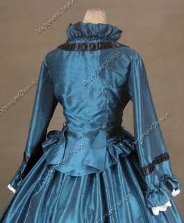 Civil War Victorian Satin Ball Gown Day / Evening Dress 170 M