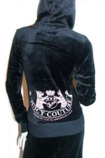 NWT JUICY COUTURE Black Velour Old School Crest Tracksuits Hoodie
