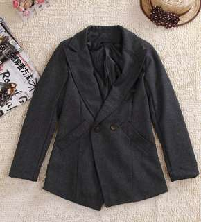 Women Ladys korean fashion woolen Double breasted lapel coat/jacket