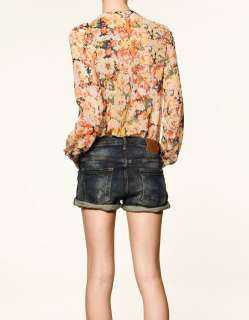 2012 NEW SPRING ZARA COLLECTION SHEER FLORAL PRINT BOW SHIRT BLOUSE