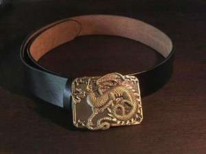 Black Leather Belt and Medieval Dragon Buckle