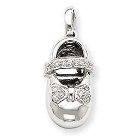 14k White Gold 0.1ct AA Diamond Baby Girl Shoe Pendant