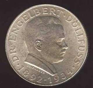 AUSTRIA BEAUTY 2 SHILLING 1934 SILVER COIN HIGH GRADE