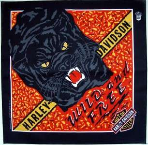 Black Panther Bandana Wild and Free Harley Davidson USA