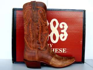 Lucchese 1883 Mens Saddle Tan Lizard Cowboy Boots