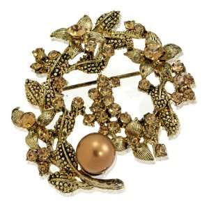 Mistletoe Flower Pearl Topaz SWAROVSKI CRYSTALS Fashion