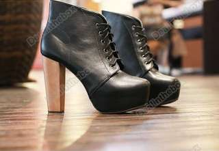 Lady Womens Platform Round Toe High Heels Shoes Ankle Boots 2 Colors