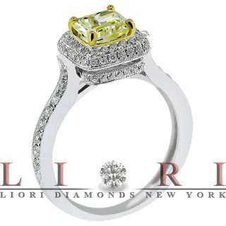 41 CARAT NATURAL FANCY YELLOW RADIANT CUT DIAMOND ENGAGEMENT RING