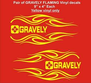 Pair of GRAVELY FLAMING Tractor vinyl decals    yellow