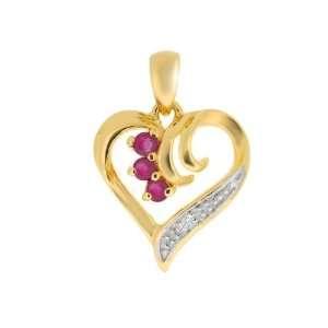 9ct Yellow Gold Ruby & Diamond Pendant Jewelry