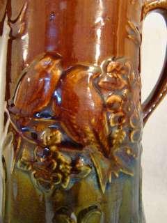 Antique SLIP GLAZE Stoneware POTTERY Figural LOVE BIRDS Old COUNTRY