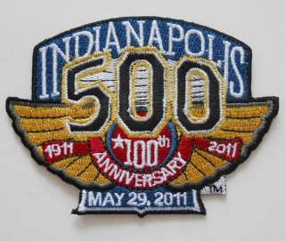 2011 INDIANAPOLIS 500 100th ANNIVERSARY RACING EMBLEM EMBROIDERED IRON