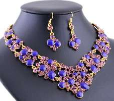Rhinestone & alloy necklace earrings wedding party jewelry sets.