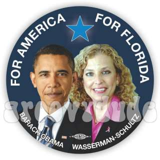 Barack OBAMA Wasserman Schultz 2012 Campaign Button Pin Pinback Badge