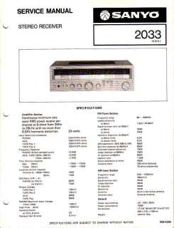 SANYO ORIGINAL Service Manual Model 2033 FREE USA SHIP