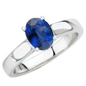 Royal Blue Sapphire Solitaire Gold Ring for SALE(8.5,14kt White Gold