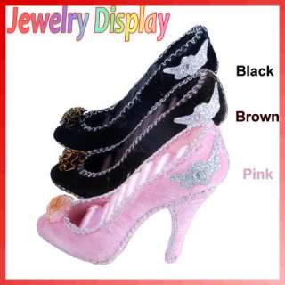 Mini High Heel Shoe Jewelry Show Holder Ring Storage Display Velvet