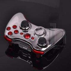 XBOX 360 CHROME SILVER AND RED WIRELESS CONTROLLER SHELL CASE MOD