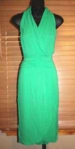 2,395 NWT GORGEOUS HALSTON EMERALD GREEN CHIFFON HALTER DRESS 10