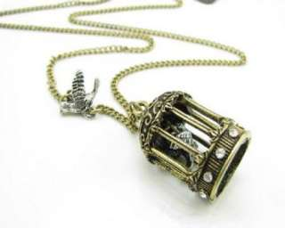 Carve wave bird cage fly pigeon Necklace Tag $26.99 X33