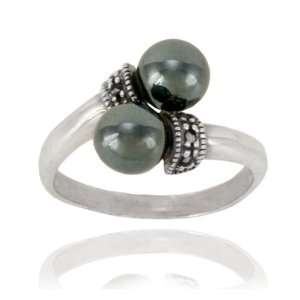 Sterling Silver Marcasite and Hematite Ring, Size 6