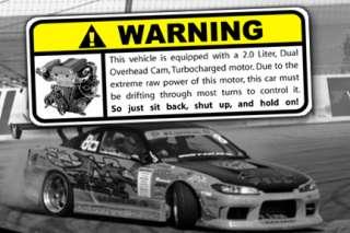 Black SR20 Drift Warning Sticker, S13, 180sx, JDM, 240
