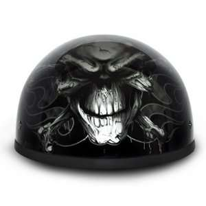 Black Crossbones Beanie DOT Motorcycle Skull Cap Half Helmet [X Small