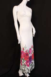 750 Valentino RED Dress Jersey Maxi Flowered 40 4 S #0008F5