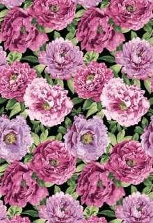 Beautiful Blossoms Mauve Black Pink Floral Rose Quilt Fabric 2688 99