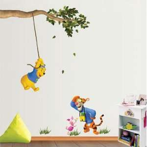 Winnie the Pooh and Tiger Playing Swing   Nursery Removable Vinyl Wall