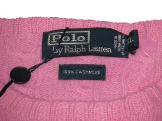 397.50 NWT POLO RALPH LAUREN MENS CABLE KNIT CASHMERE PINK SWEATER