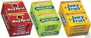 WRIGLEYS JUICY FRUIT BIG RED DOUBLEMINT fresh 10/15pc