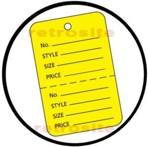 1000 Lrg Price Hang Tags w/o strings YELLOW 2 part Perf