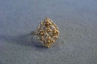 WOW ANTIQUE SILVER GOLD FANCY FILIGREE MARQUISE RING 7