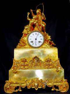 LARGE UNIQUE FRENCH GILT BRONZE FIGURATIVE Clock 1880