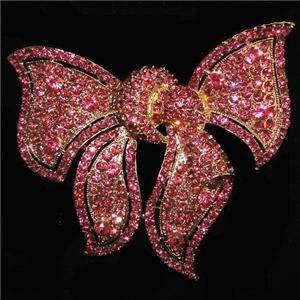 Huge 3.86 Bowknot Bow Brooch Pin Pink Swarovski Crystal
