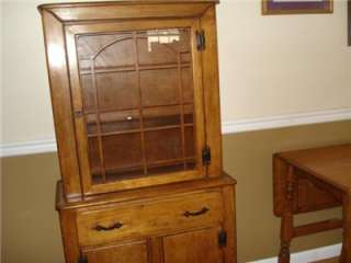 antique colonial china cabinet & drop leaf table