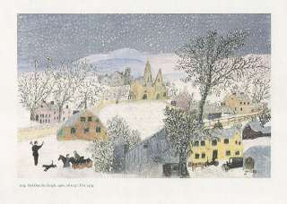 GRANDMA MOSES print snowfall GET OUT THE SLEIGH