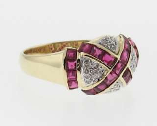 Estate Fancy Natural Ruby Diamonds Band Solid 14k Gold Ring FREE