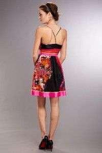 SUE WONG Floral Print Silk Dress ( Size 8)