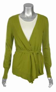 Sutton Studio Womens 100% Cashmere Belted Wrap Sweater
